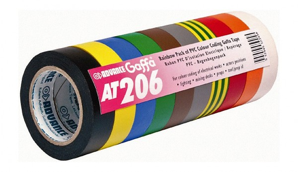 AT 206 (AT 7), PVC Tape (Set 10), Regenbogenpackung, 15x10